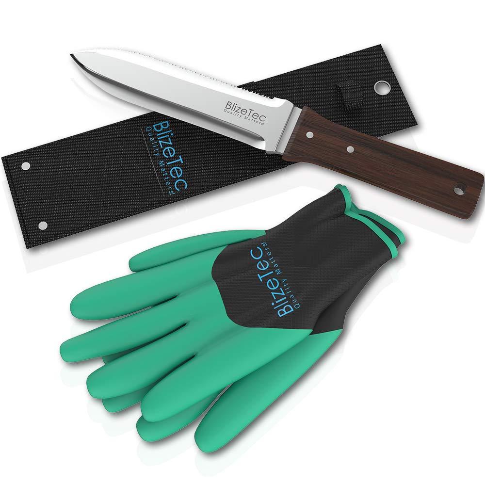 BlizeTec Hori Hori Knife Multipurpose Gardening Digging Tool Kit with Shealth and Gloves