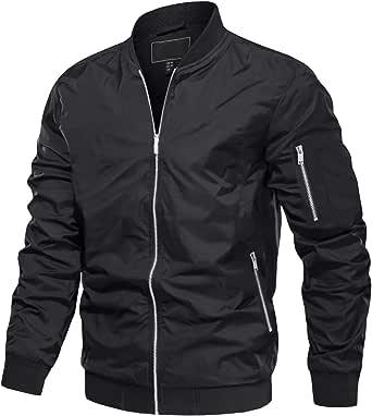 MAGCOMSEN Men's Windbreaker Bomber Jackets 3 Zipper Pockets Lightweight Spring Fall Varsity Baseball Jacket