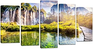 Artsbay Large 5 Piece Waterfall Picture Wall Art Nature Mountain Landscape Painting Giclee Print Modern Home Living Room Bedroom Office Decoration Stretched and Framed Ready to Hang
