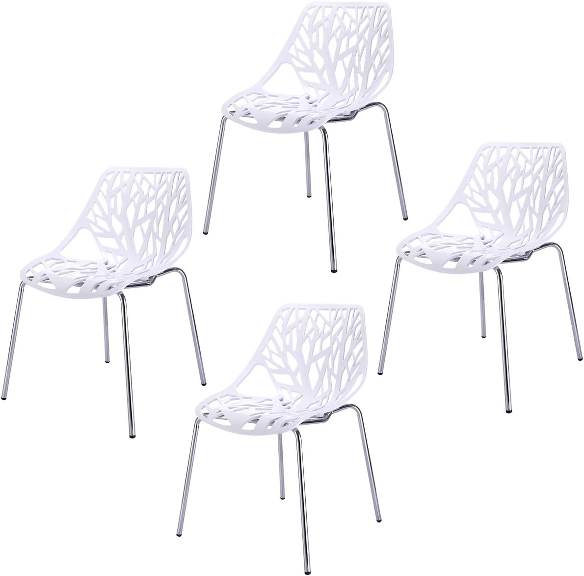 Sandinrayli Set of 4 White Side Dining Chair 18 Height Birds Nest Chairs for Dining Room Waiting Room Kitchen Living Room