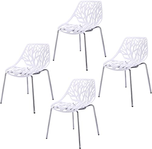 Sandinrayli Set of 4 White Side Dining Chair 30.7″ Height Birds Nest Chair