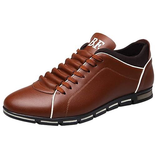 Zapatos Seguridad para Hombre,Zapatos Hombre Vestir,Los Hombres De Moda De Cuero SóLido Negocio Deporte Plana Punta Redonda Zapatos Casuales: Amazon.es: ...