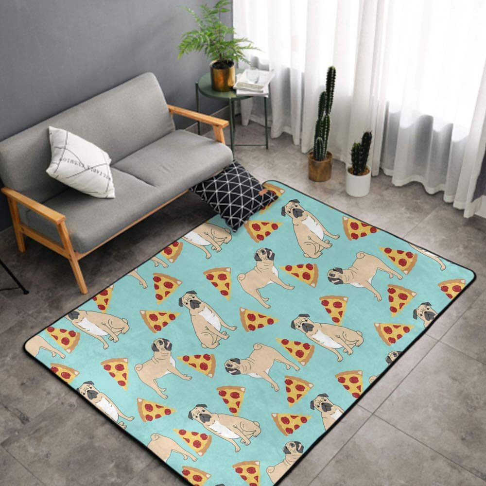 NiYoung Bedroom Livingroom Sitting-Room King Size Kitchen Rugs Home Decor - Funny Vector Dogs Pug Puppies Pattern Pizza Doormat Floor Mat Fast Dry Toilet Bath Rug Exercise Mat Throw Rugs Runner