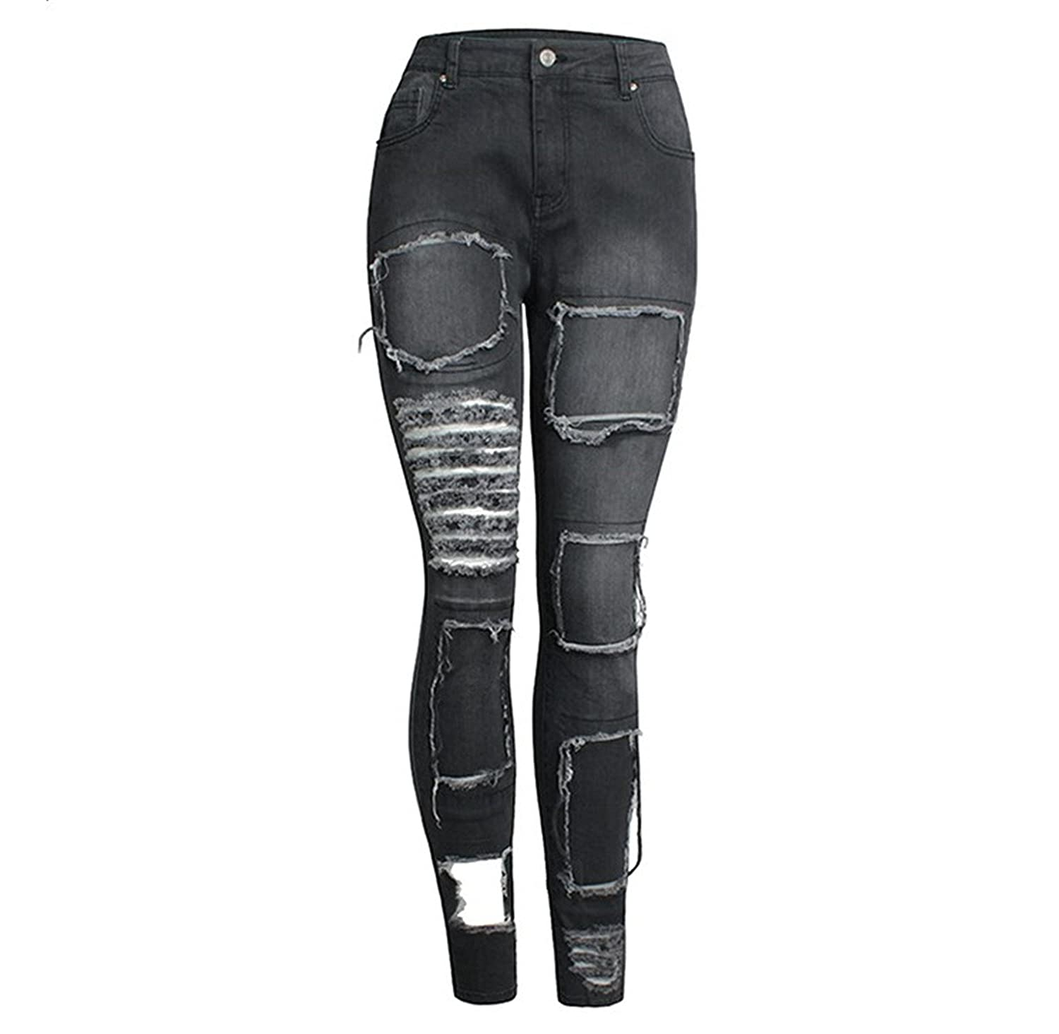 Habitaen New Fashion Ladies Denim Pants Stretch Womens High Street Jeans Faded Black Ripped Skinny Jeans Female