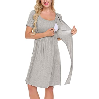 SULEAR New Maternity Wear Ropa De Maternidad Women Maternity Nursing Baby Nightgown Solid Color Breastfeeding Sleepwear Dress at Amazon Womens Clothing ...
