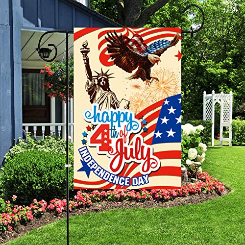 Alitercy 4th of July Patriotic Garden Flag, Double Sided American USA Flag 12 x 18 inch USA Yard Flag Banner, Memorial Independence Day Garden Flag Indoor and Outdoor Home Decoration (4th of July)