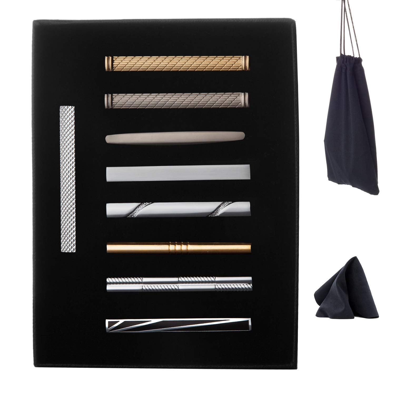 WEWINK PLUS 9 Pcs Tie Clips Set for Men Tie Bar Pinch Clip Set for Regular Ties Necktie Wedding Business with Gift Box (9 pcs Style C with Gift Box)
