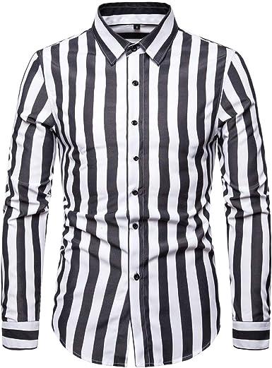 AOWOFS Camisa de manga larga a rayas para hombre, corte ...
