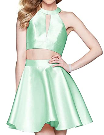 1603d7ff7d Yiweir Women s Short Two Piece Homecoming Dresses 2018 Halter Formal Prom  Gown H092 at Amazon Women s Clothing store