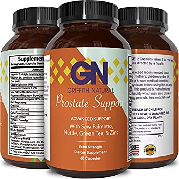 Prostate Support Supplement for Health - Copper + Zinc + Saw Palmetto + Vitamin B6 - Increase Libido - Reduce Frequent Urination - With Pygeum + L-Glycine + Pumpkin Seed Extract - By Griffith Naturals