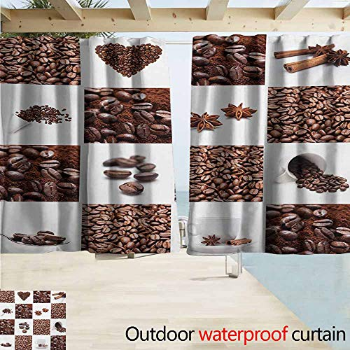 AndyTours Balcony Curtains,Kitchen Coffee with Roasted Beans Concept Collage Hearts Stars Espresso Latte Mugs Aroma,Rod Pocket Energy Efficient Thermal Insulated,W72x45L Inches,Brown White
