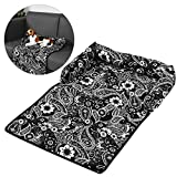 Petacc Cotton Pet Sleeping Mat Waterproof Pet Cushion Anti-slip Dog Bed Cover Ultra Comfortable Dog Sofa Pad - Suitable for Bed - Sofa and Floor - Black-and-white Flowers Printing
