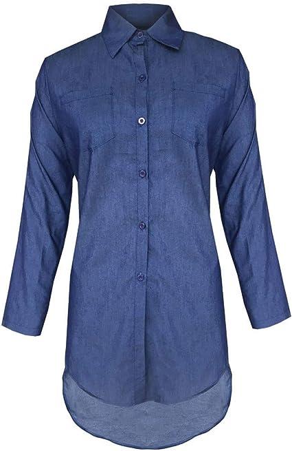 ZODOF Azul Mezclilla Camiseta Manga larga Casual Suelto ...