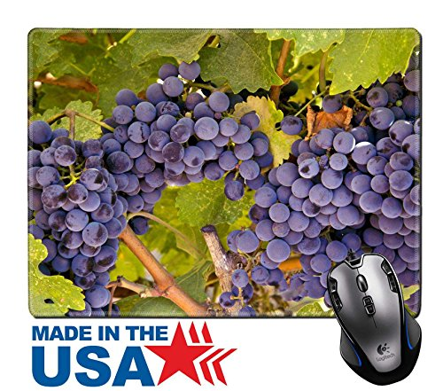 "MSD Natural Rubber Mouse Pad/Mat with Stitched Edges 9.8"" x 7.9"" IMAGE ID: 27872390 Wine Grapes Ripening on the Vine - Edge Napa Valley Cabernet"