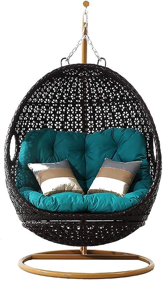 SMGPYHWYP Silla Colgante de ratán, Silla de Canasta de Huevos Que Incluye Cojines, Muebles de jardín para Exteriores e Interiores: Amazon.es: Hogar