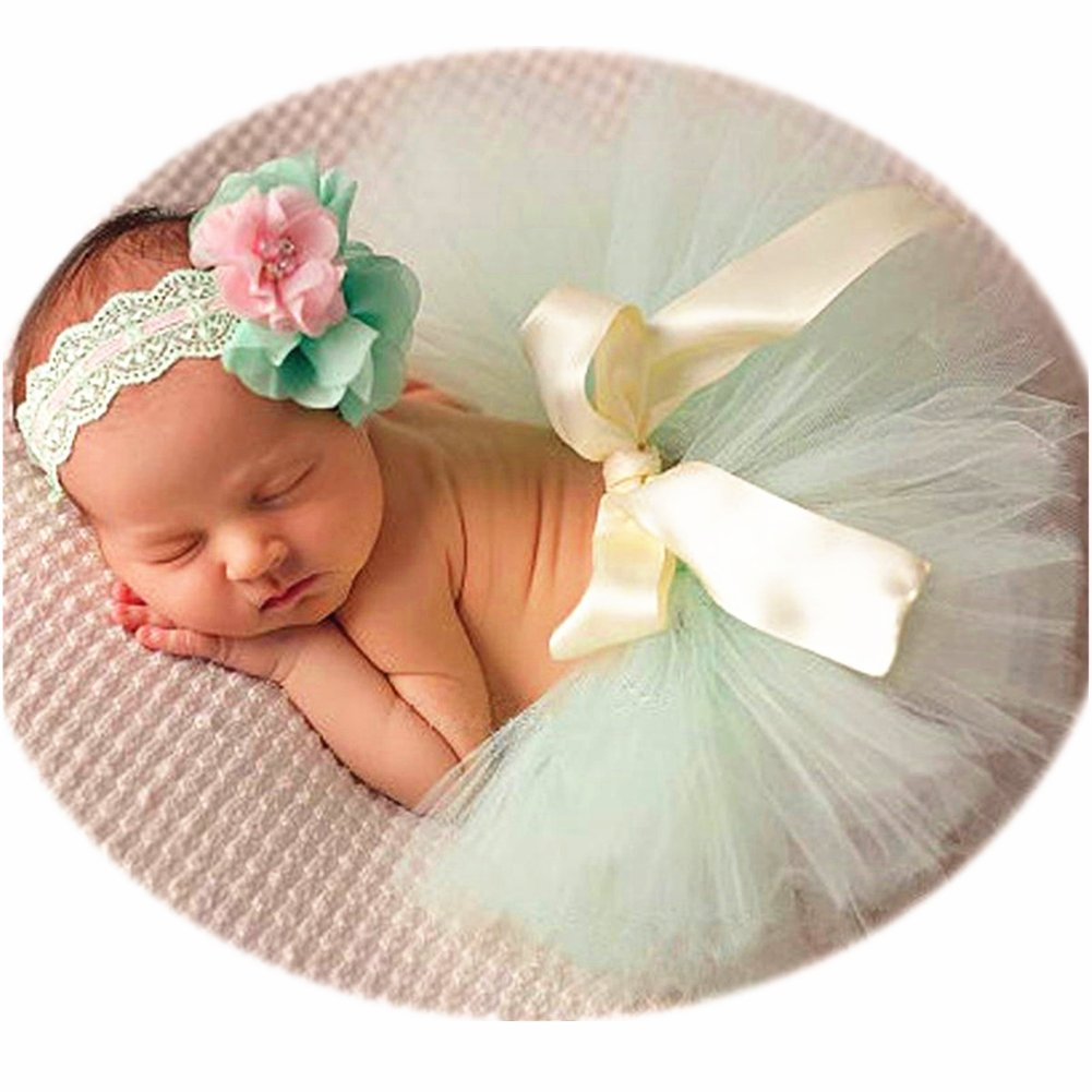 Newborn Girl Photography Outfits - Baby Photo Props Tutu Skirt and Headband Set by SIKEMAY