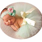 Newborn Girl Photography Outfits - Baby Photo Props Tutu Skirt and Headband Set