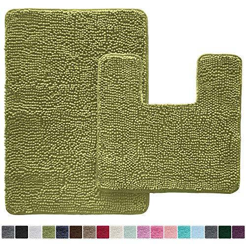 Gorilla Grip Original Shaggy Chenille 2 Piece Bath Rug Set, 19x19 Square U-Shape Contoured Toilet Mat & 30x20 Carpet Rug, Machine Wash/Dry Mats, Soft, Plush Rugs for Tub Shower & Bathroom (Green)