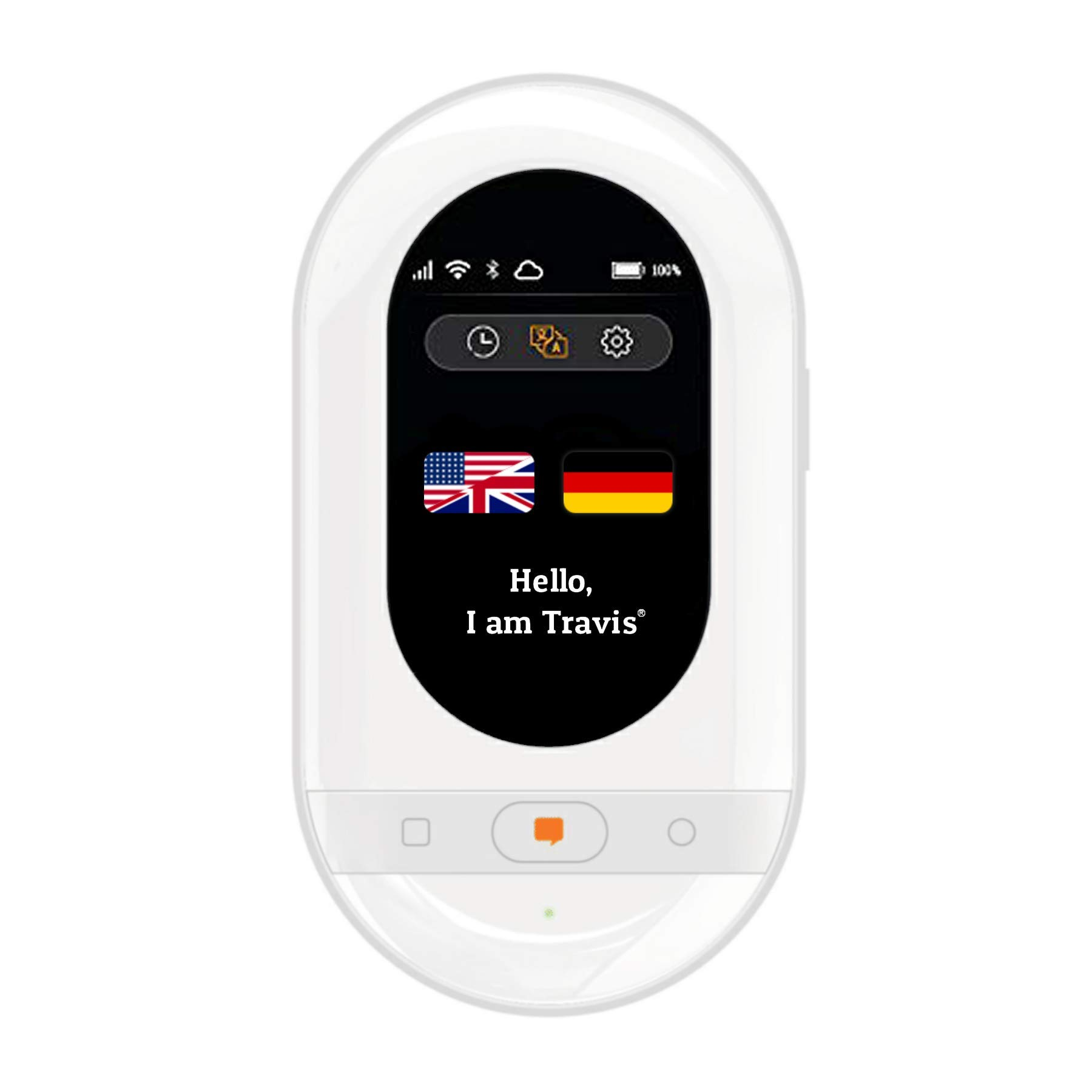 Travis Touch Smart Pocket Translator - 1GB Global Data SIM Card incl, 100+ Languages, Two Way Translations, Touch Screen, Hotspot (White)
