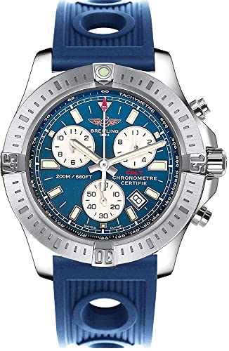 Breitling Colt en azul correa de caucho de acero inoxidable cronógrafo reloj para hombre: Amazon.es: Relojes
