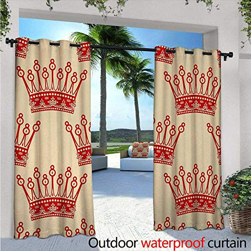 Queen Outdoor Privacy Curtain for Pergola Crowns Pattern in Red Vintage Design Coronation Imperial Kingdom Nobility Theme Thermal Insulated Water Repellent Drape for Balcony W120
