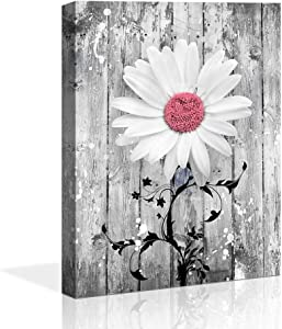 bathroom decor pink Gray Daisy Flowers abstract Wall Art Contemporary Decorative Modern Floral Canvas Artwork Daisy Flower Vase Picture Giclee Print on Canvas Picture Paintings Wall Decor for Bathroom