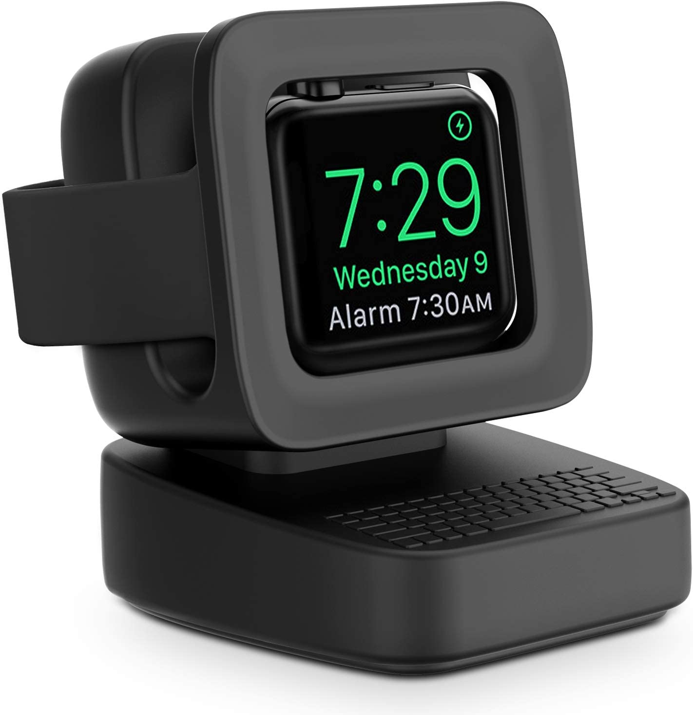 Compatible with Apple Watch Charger Stand, MAPUCE Apple Watch Charging Station for iWatch Stand Charging Dock Silicone for iWatch Series 6 SE 5 4 3 2 1, Supports Nightstand Mode(Black)