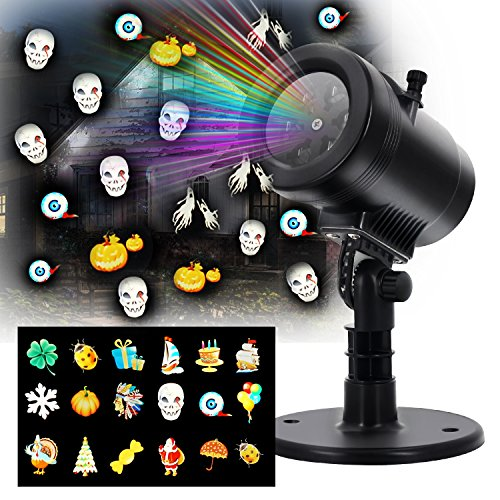 LED Projector Light- Blinbling 2017 NEWEST Outdoor LED Lights Projector with 14 Festive Lights Designs for Halloween, Christmas, Birthday, Holiday Landscape Decoration, (Halloween Festive)
