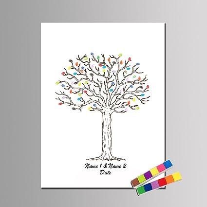 Qiulv Árbol Huella Dactilar Firma Libro Visitas Lona Impresión del Pulgar Personalizado Personalizado Registrarse Pintura Aniversario