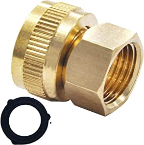 """HZFJ 1PCS Thumb Quick Swivel Connector Adapter,Industrial Metal Brass Garden Hose Threaded 3/4 to 1/2 NPT Fitting Connect, Double Female Thread Garden Hose Adapter Size 3/4"""" x 1/2"""" NPT Pipe"""