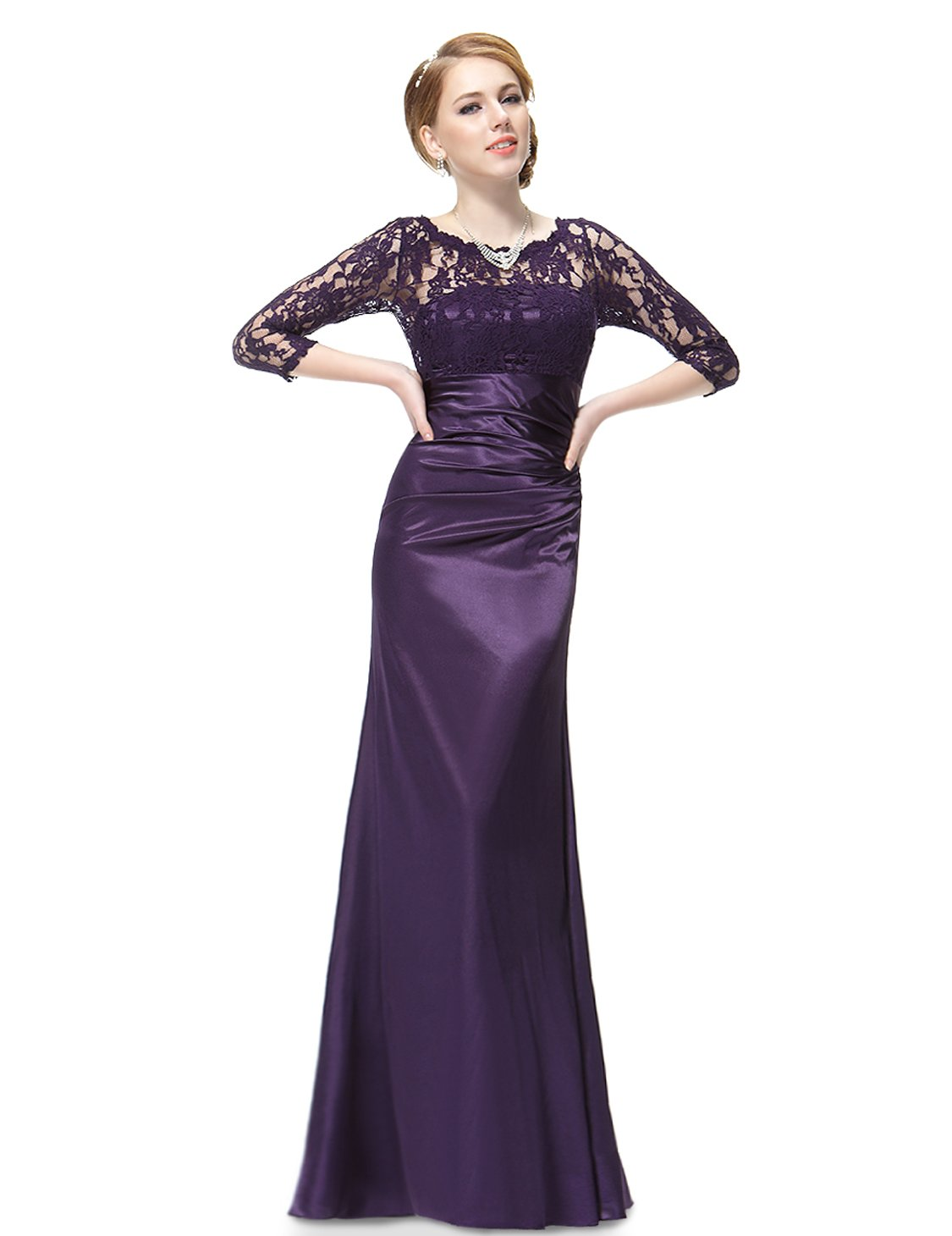 d88961a575c Ever-Pretty Womens Long Sleeve Ruched Mother The Bride Dress 6 US Purple