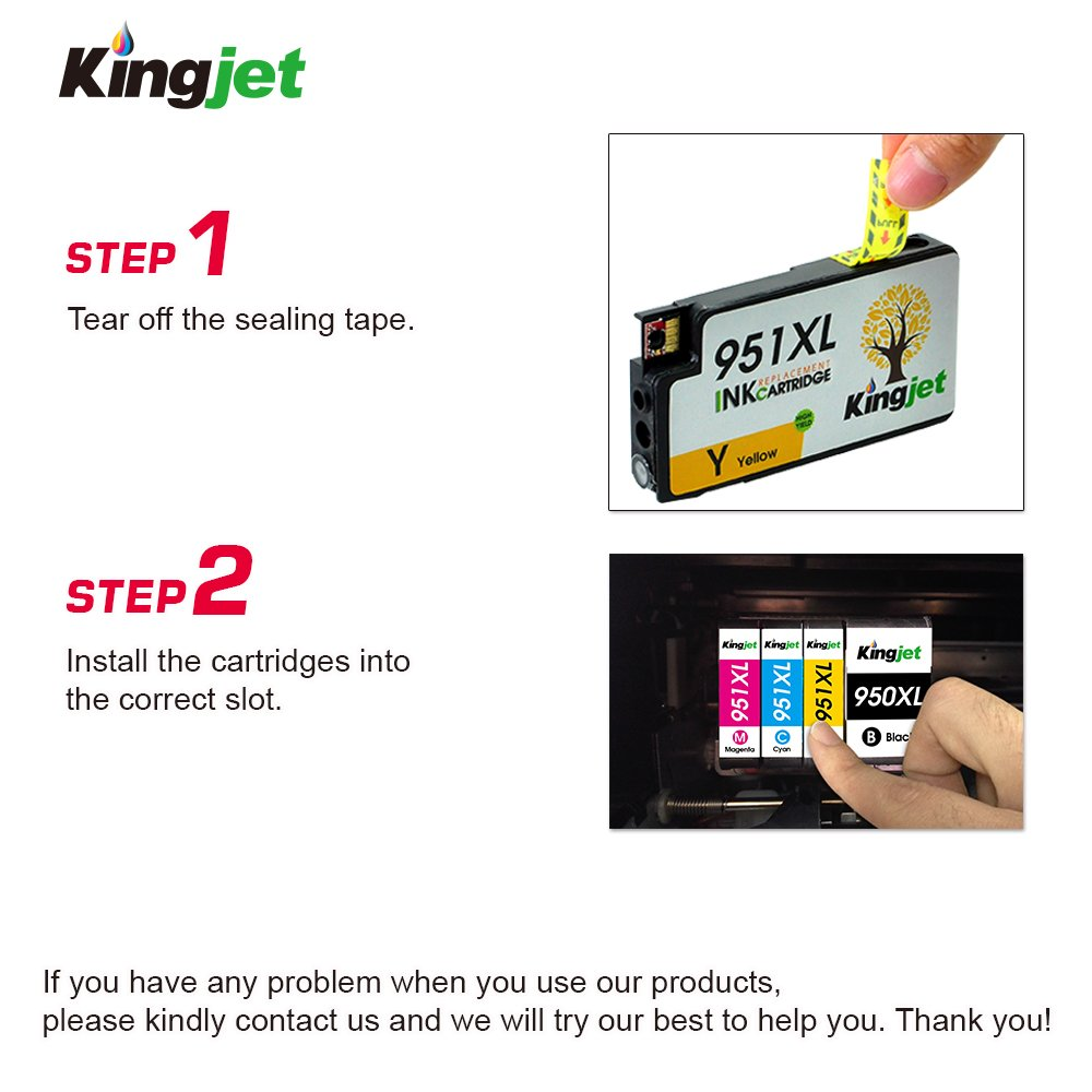 Kingjet Compatible Ink Cartridge Replacement for 950XL 951XL Work with Officejet Pro 8100 8600 8610 8615 8620 8625 8630 Printers, (1Set+1BK) with Updated Chips by Kingjet (Image #5)