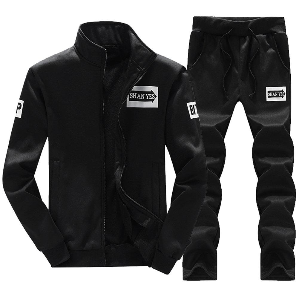 MACHLAB Men's Athletic Tracksuit Full Zip Warm Sports Sets Jogging Sweat Suits Black L