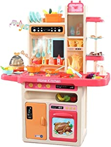YLLN Deluxe Kids Kitchen Playset Pretend Play,40+ PCS Food Toys for Toddlers, Toy Accessories Set with Real Sounds and Light,Running Water,Christmas Birthday Gifts for 2,3,4,5 Year Old Girls