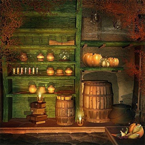 Leowefowa 5X5FT Vinyl Photography Backdrop Halloween Pimpkin Books Dreamy Fairy Tale Room Candles Magic Potions Interior Background Kids Adults Photo Studio Props ()