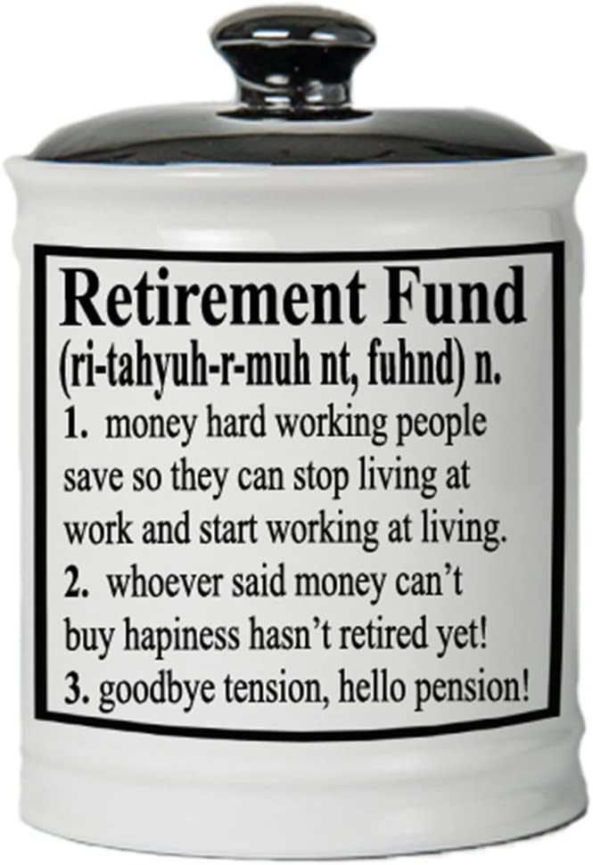 Cottage Creek Piggy Bank, Retirement Fund Coin Bank, Round Ceramic Retirement Savings Jar with Black Lid, Retirement Change Box [White]