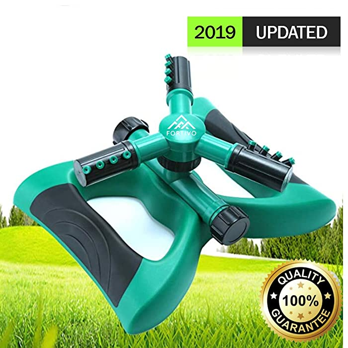 Lawn Sprinkler Garden Sprinkler -2018 Updated, Automatic 360 Rotating Adjustable Large Area, Water Sprinkler for Kids Yard Irrigation System Oscillating Sprinkler Watering Sprayer Easy Hose Connection