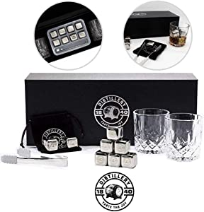 Whiskey Stones and Whiskey Glass Gift Box Set – Stainless Steel Reusable Ice Cubes – Chilling Stones for Whisky & Wine – Includes Velvet Carrying Pouch, Plastic Tray and Tongs – Set of 8