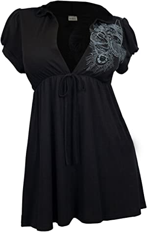 6e82304727a Gorgeous plus size hoodie top features short sleeve and long tunic design.  Deep cut v-neck with string accent in the front.