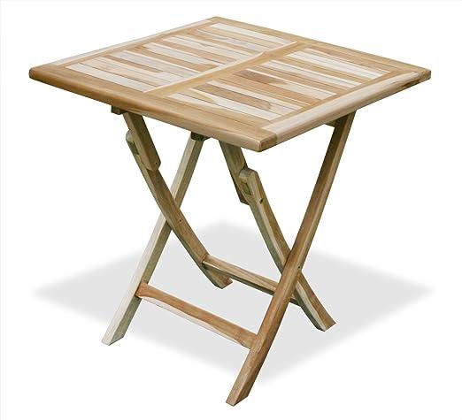 KMH, – – Mesa/mesa auxiliar – Madera de Teca (70 x 70 cm) (# 102027): Amazon.es: Jardín