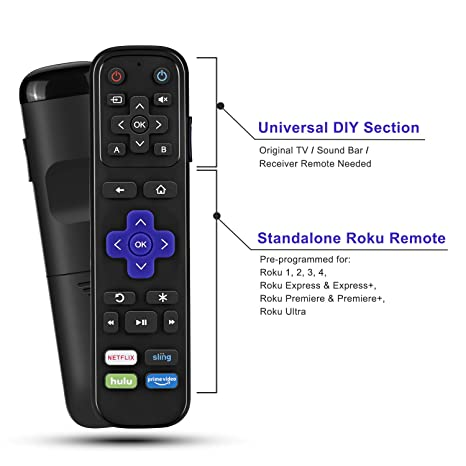 Universal IR Remote Replacement for Roku Streaming Player with 13 Extra  Learning Buttons to Control TV Soundbar Receiver All in One (for Roku 1 2 3  4