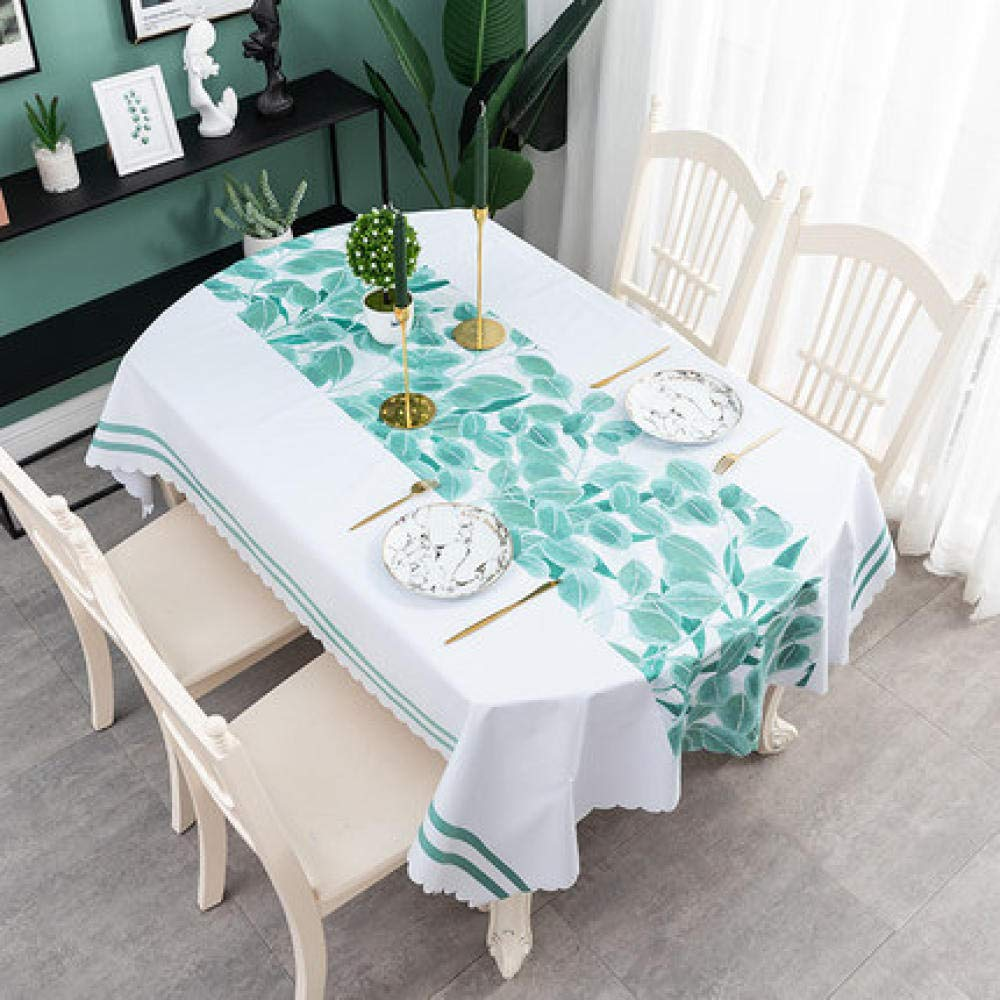 WJJYTX Oilcloth Tablecloth,Oval Waterproof Oblong Rectangular Table Cover Home Decoration for Party Wedding-135 * 220_E