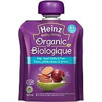 HEINZ Strained Organic Pear Sweet Potato Plum Pouch, 6 Pack, 128ML Each