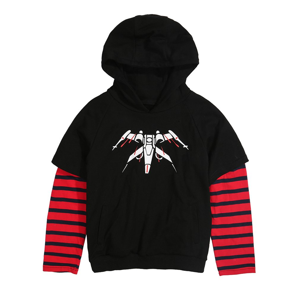 Difly Kids Cool Boys Mosaic Fringe Fighter Spring Autumn Cotton Comfortable Hoodies Outerwear