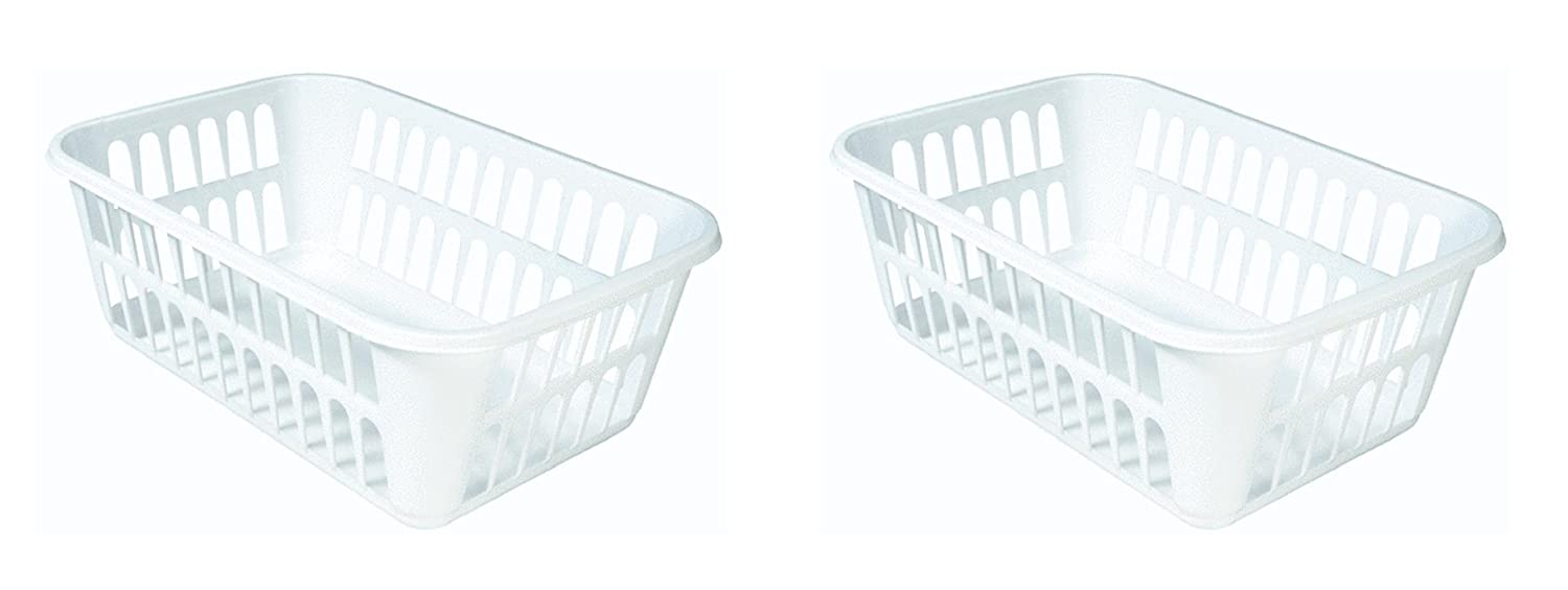 STERILITE Medium Plastic Basket, White, Pack of 2