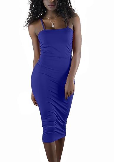 Twippo Verano Mujeres De Los Sundress Ajustado Vestido Corto Atractivo Paquete De La Cadera Azul S