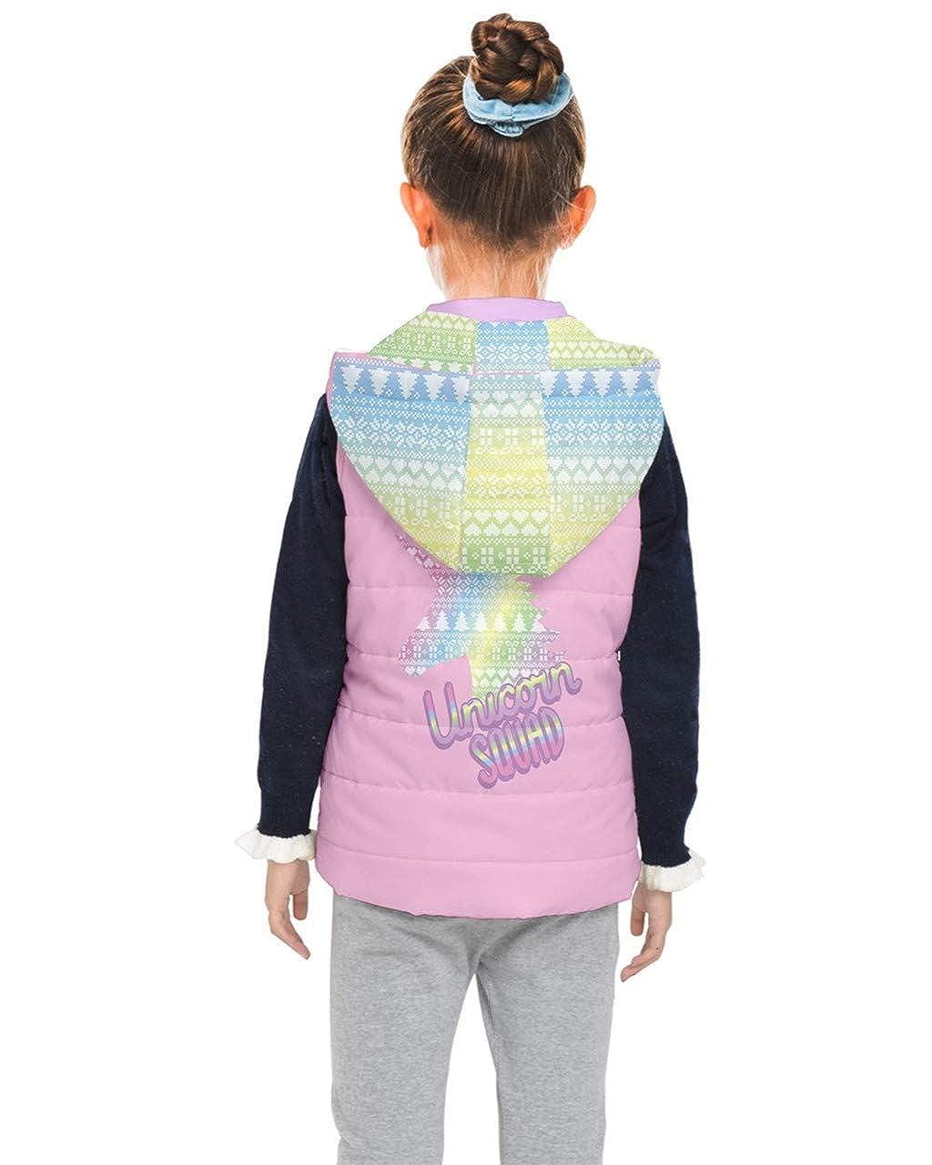 PattyCandy Light Girly Unicorns and Rainbows Patterns on Kids Unisex Puffer Vest with Hoodie PattyCandy-135823936