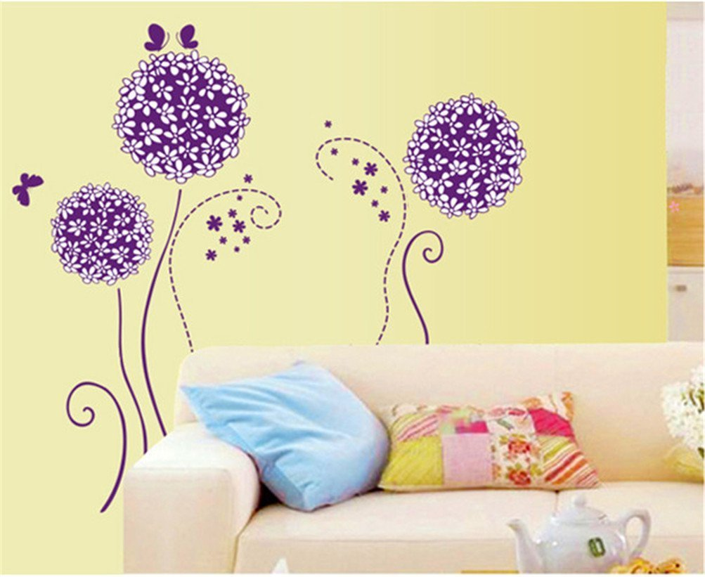 Amazon.com : Amaonm Purple Hydrangea Shape Dandelions Nursery ...