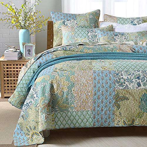 Lecoda Cotton Jacquard Style Bohemian Reversible Patchwork Bedspread Quilt Sets … (Queen Size, Green Floral Pattern)