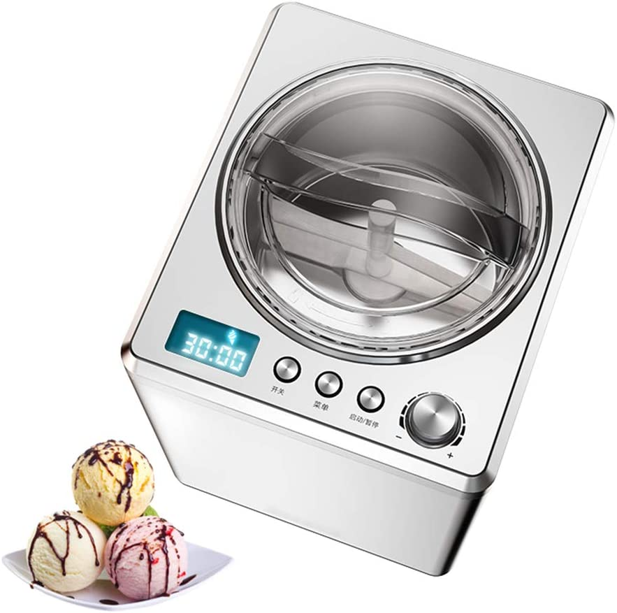 Ice Cream Maker 2.5L Automatic Gelato Maker, Frozen Yogurt Sorbet Gelato Machine with Compressor Timer-Insulation Function, LCD Display And Mixing Paddle for Soft Serve Dessert